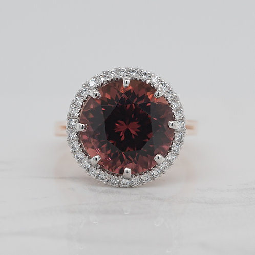 Stella 18ct rose and white gold dress cocktail ring with burgundy pink tourmaline and diamond halo, handmade in Melbourne