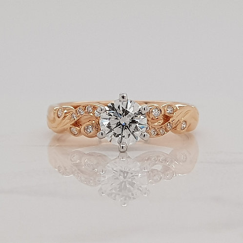 Esme rose gold engagement ring with scrolled details and diamonds in Melbourne