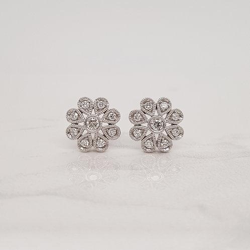 Freya white gold flower diamond studs in Melbourne