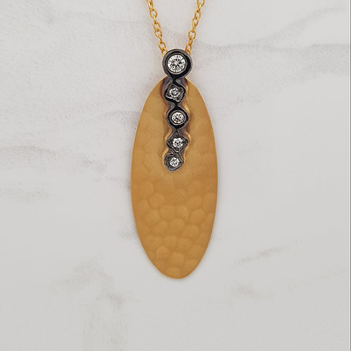Oaklynn yellow gold black plated diamond textured contemporary pendant necklace in Melbourne