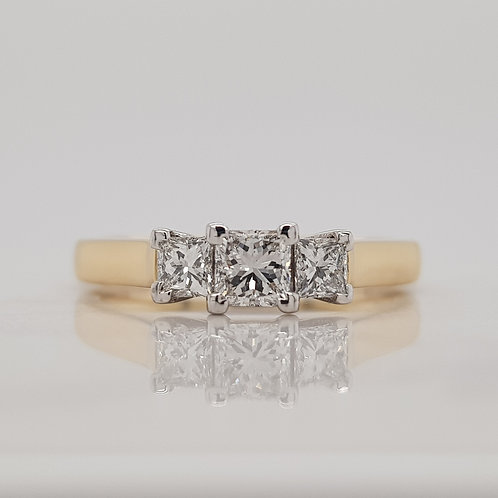 Leia three stone trilogy engagement ring with square princess cut diamonds, custom made in Melbourne