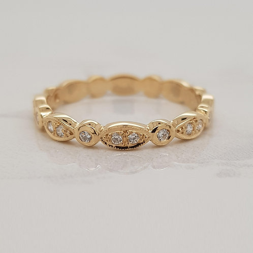 Elle yellow gold and diamond wedding band stack eternity ring in Melbourne