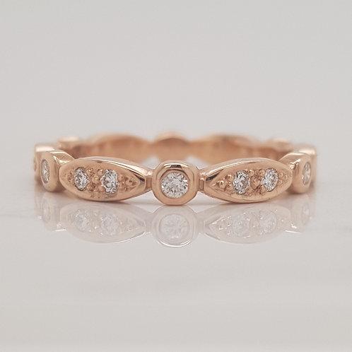 Elle diamond set rose gold stack wedding ring eternity band in Melbourne