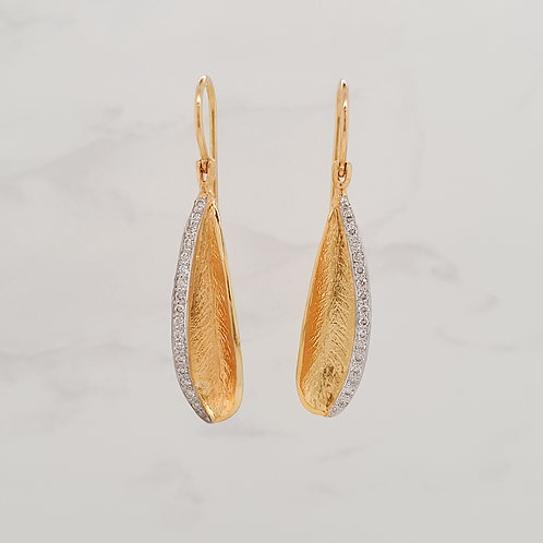 Marie 18ct yellow gold feather earrings with diamonds in Melbourne