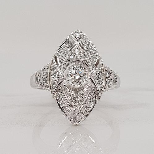 Delphine art deco style diamond dress ring, custom made in Melbourne
