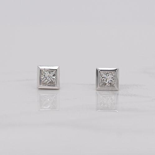 Lia 18ct white gold bezel set princess cut square diamond studs in Melbourne