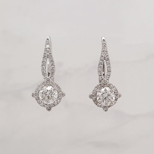 Adeline 18ct white gold diamond hook drop earrings in Melbourne