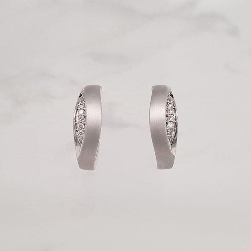 Leona white gold diamond set hoop huggie earrings with matt texture in Melbourne