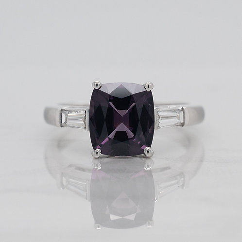 Camila 18ct white gold dress engagement ring with purple sapphire like spinel and baguette diamonds in Melbourne