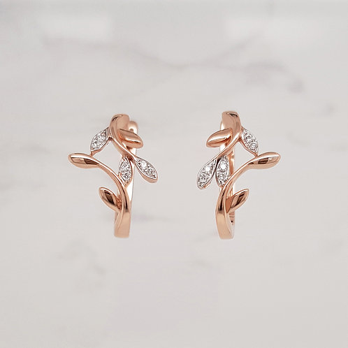 Valerie rose gold diamond set hoop huggie vine earrings in Melbourne