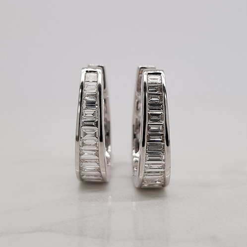 Gia 18ct white gold huggie hoops with baguette diamonds channel set in Melbourne
