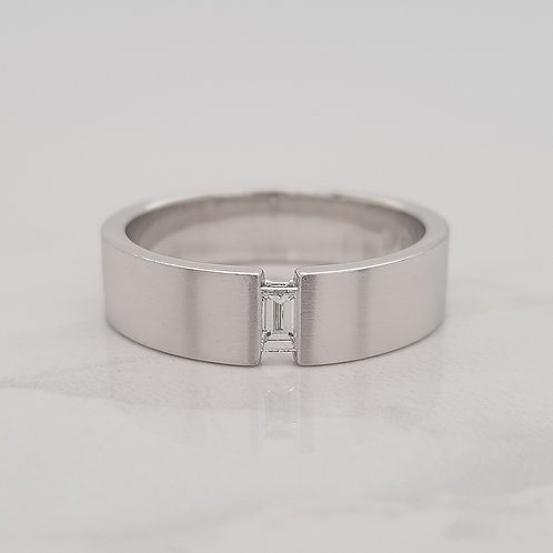 Noah white gold gents mens wedding ring band with baguette diamond in Melbourne