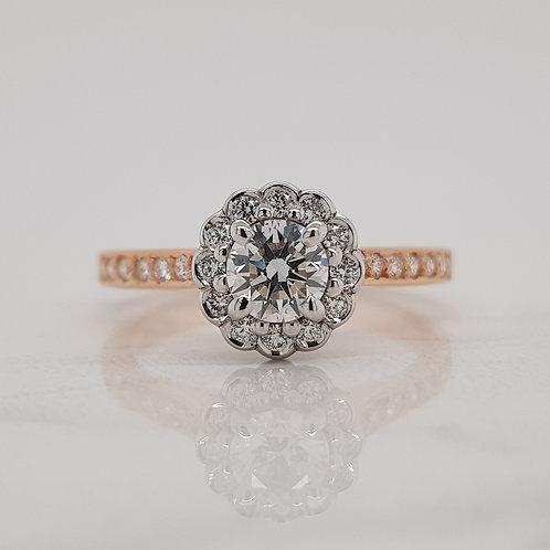 Rosalie rose gold flower halo cluster engagement ring, custom made in Melbourne