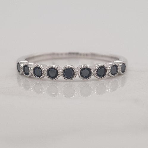 Khloe white gold black diamond stack wedding ring eternity band in Melbourne