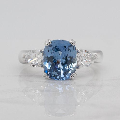 Imogen 18ct white gold pastel blue ceylon sapphire and pear shape diamonds, handmade in Melbourne