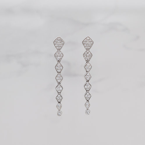 Belle 18ct white gold long pave set drop diamond studs in Melbourne