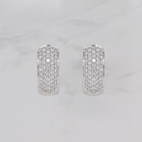 Lydia 18ct white gold pave set diamond hoop huggie earrings in Melbourne