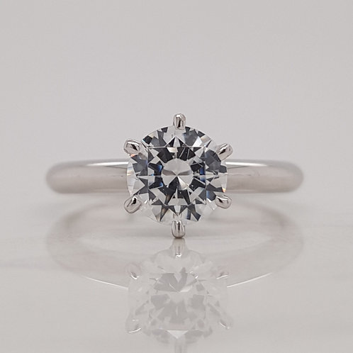 Iva white gold classic soliatire engagement ring with round brilliant cut diamond, handmade in Melbourne.