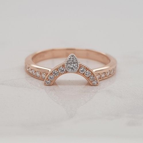 Arya ladies wedding band fitted eternity ring in rose gold with diamonds, handmade in Melbourne