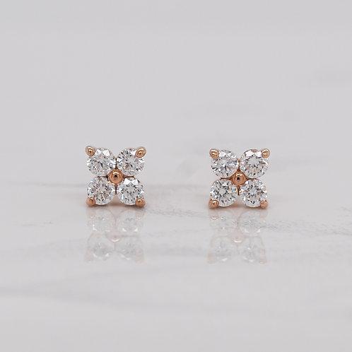 Zoe 9ct rose gold four diamond flower stud earrings in Melbourne