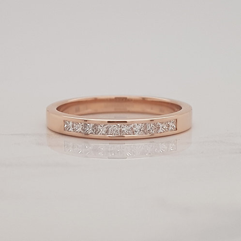 Ava 18ct rose gold channel set diamond stack wedding ring eternity band in Melbourne