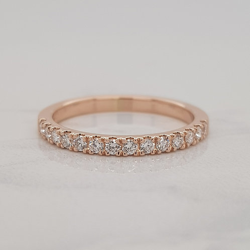 Macy rose gold claw set diamond wedding band stack eternity ring in Melbourne