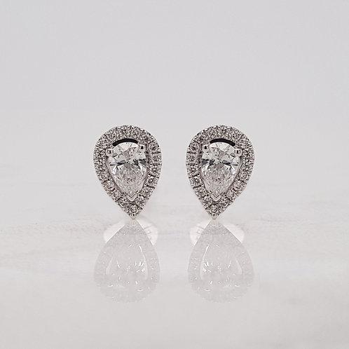 Paris 18ct white gold pear drop shape diamond halo cluster stud earrings in Melbourne