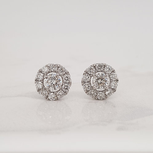 Ana white gold diamond cluster halo studs in Melbourne