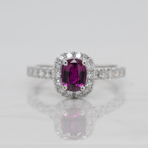 Ella 18ct white gold cluster dress engagement ring with dark pink sapphire ruby and diamond halo, handmade in Melbourne