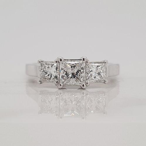 Lyla white gold three/triple/trilogy set princess cut diamond engagement ring in Melbourne