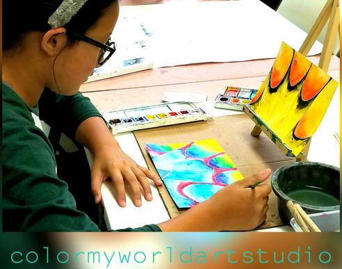 homeschool, visual, arts, class, watercolor, fall, art, painting, process, creative, middle, school