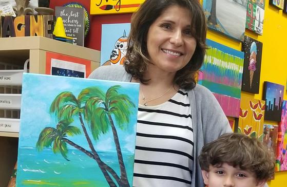 Mother Son paint date paint party virtual party