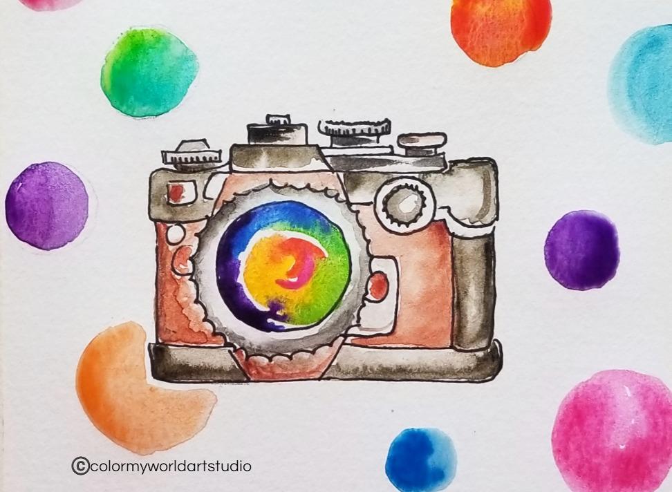 Watercolor Camera art lesson