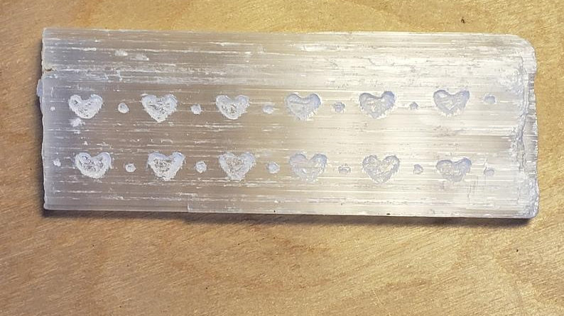 Selenite Etched Wand