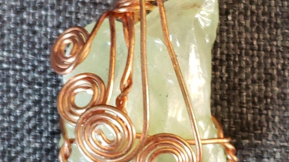 Green Calcite Copper Pendant
