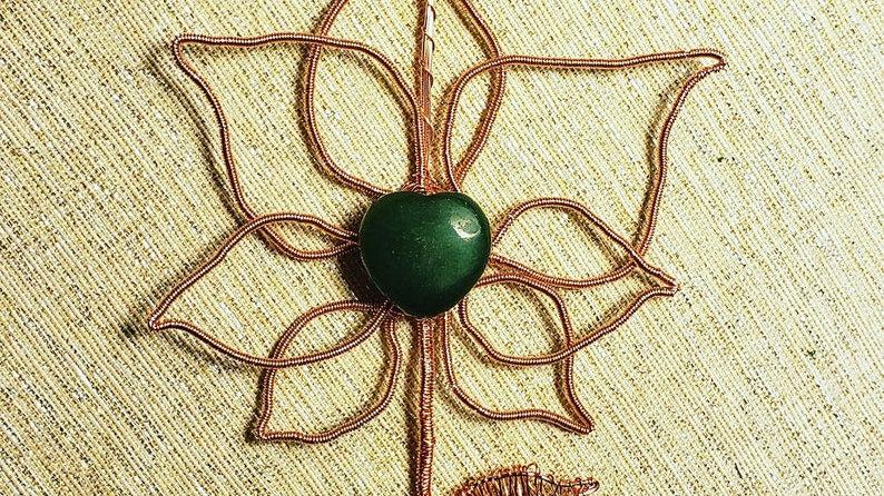 Jade Heart Centered Flower Copper Pendant