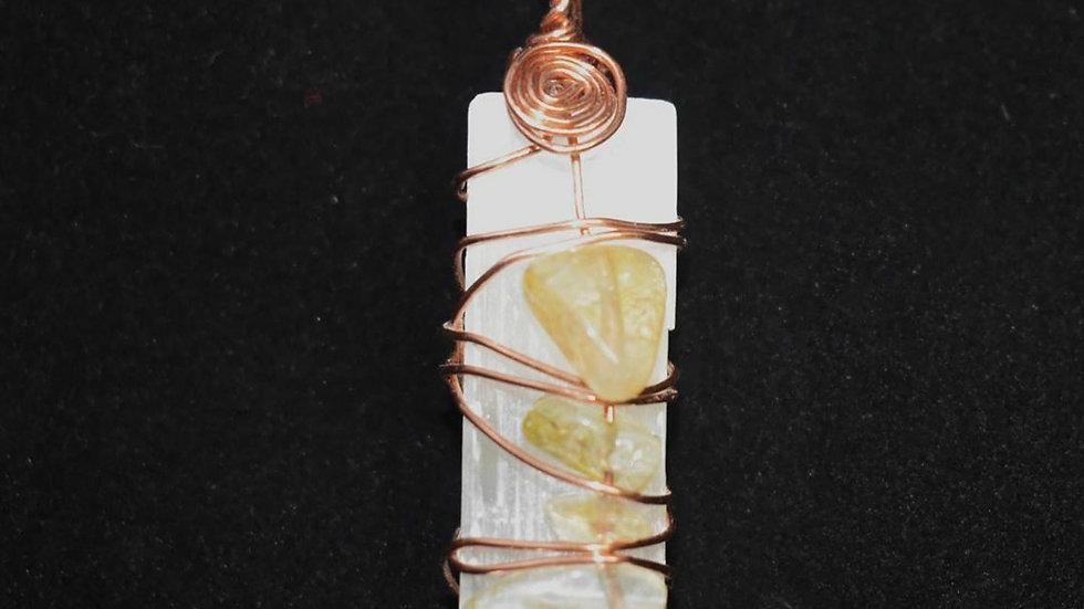 Selenite & Citrine Coppe Pendant