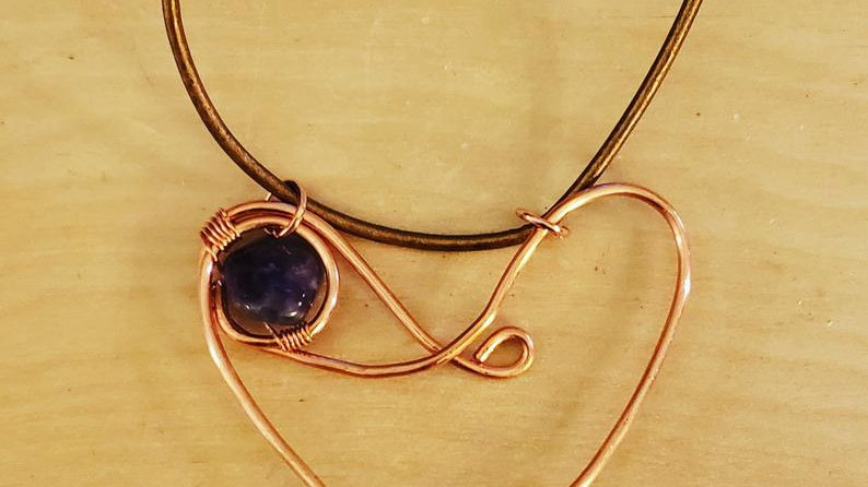 Amethyst Heart Copper Pendant