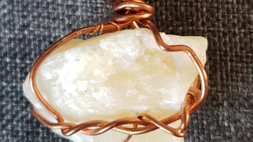 Orange Calcite Copper Pendant