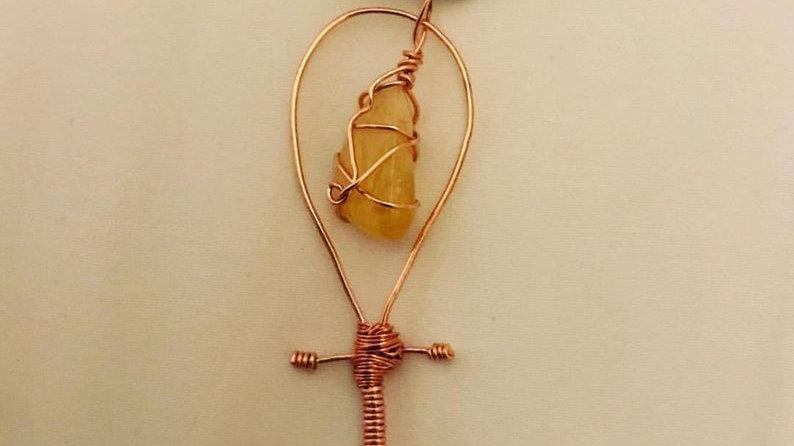 Citrine Copper Ankh Pendant
