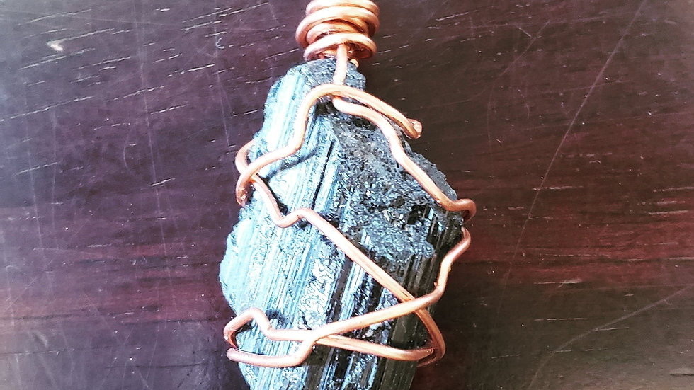 Black Tourmaline Copper Pendant