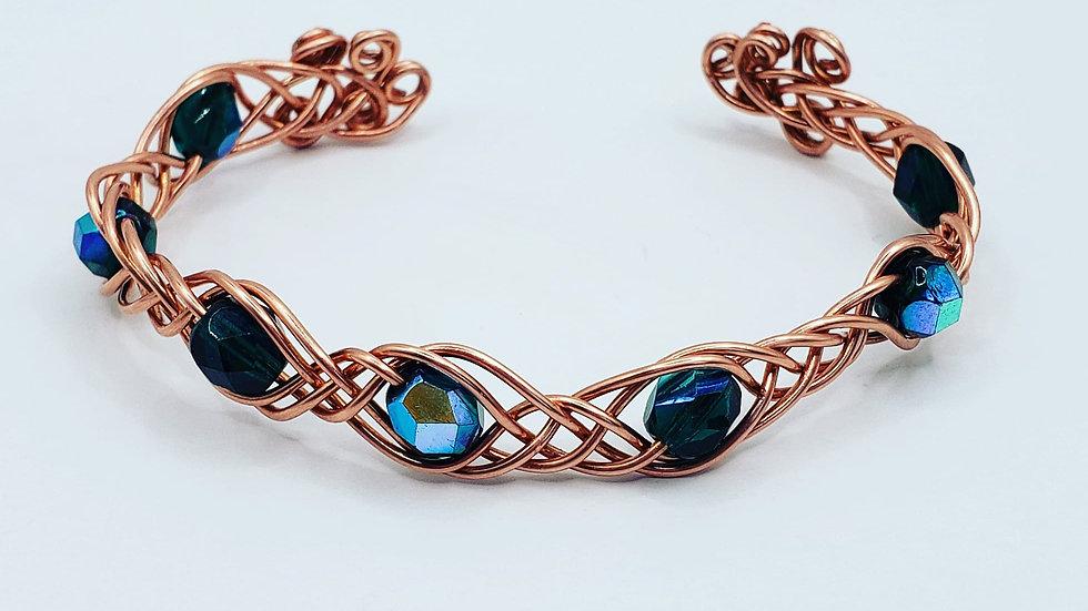 Bead Braided Wire Bracelet