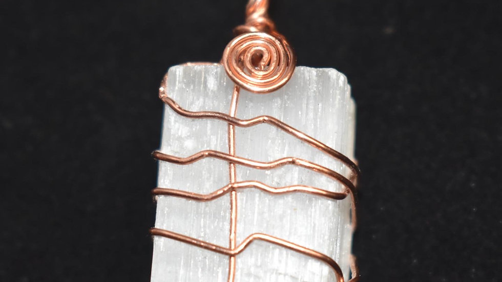 Selenite Copper Pendant
