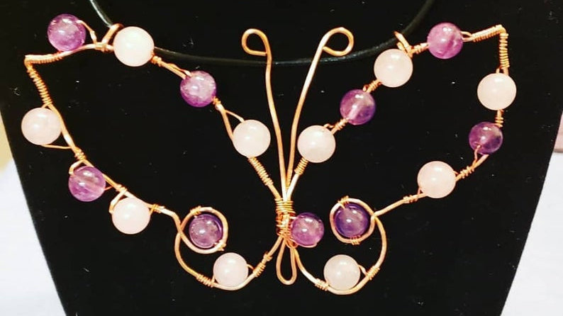 Amethyst and Rose Quartz Butterfly Pendant