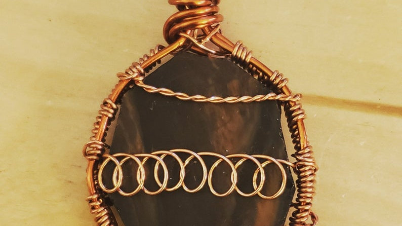 Mahogany Obsidian Copper Pendant