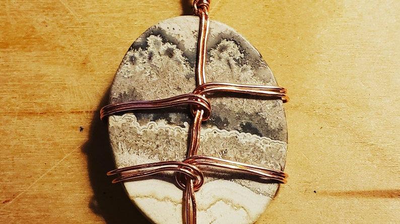 White Onyx Copper Pendant