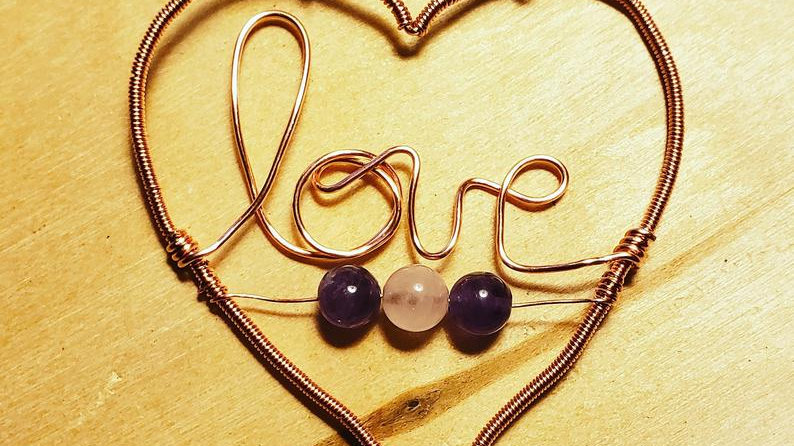Amethyst and Rose Quartz Heart Copper Pendant