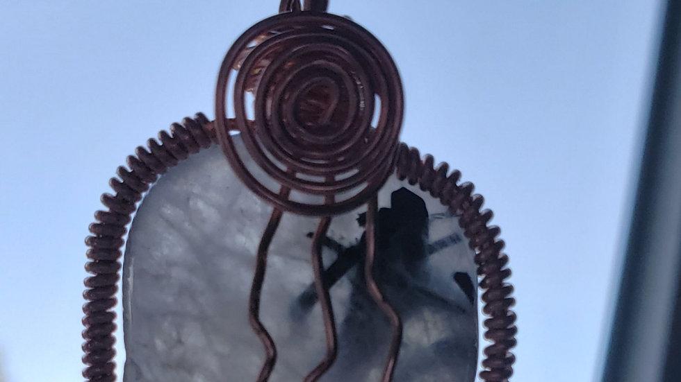 Tourmalated Quartz Copper Pendant