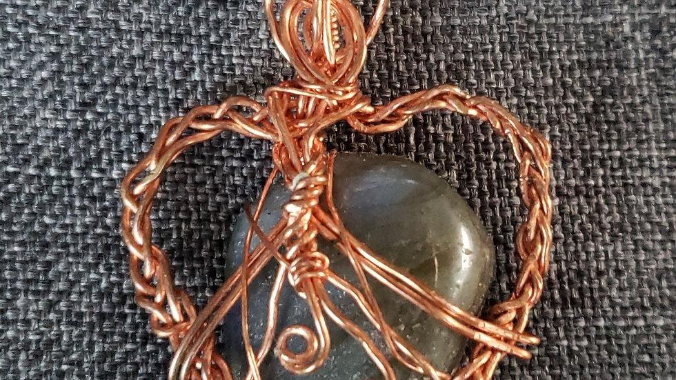 Labradorite Copper Heart Pendant