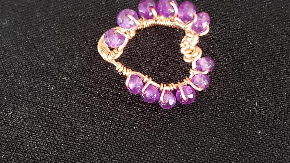 Amethyst Copper Heart Ring